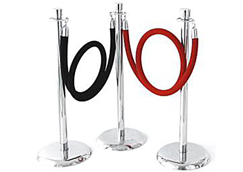 Chrome Stanchions (red/black ropes)